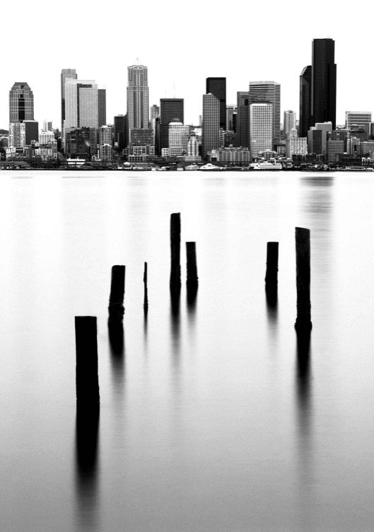 Alki pilings, Eliott Bay, Seattle skyline, Elliott Bay pilings, Fuji Neopan 100 Acros, Jeff King Photography